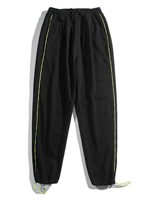 best Contrast Striped Jogger Sweatpants - BLACK L Mobile