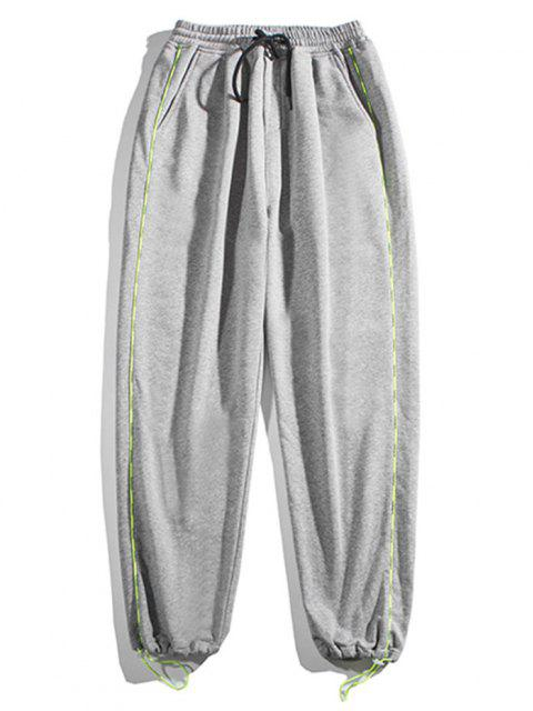 hot Contrast Striped Jogger Sweatpants - LIGHT GRAY M Mobile
