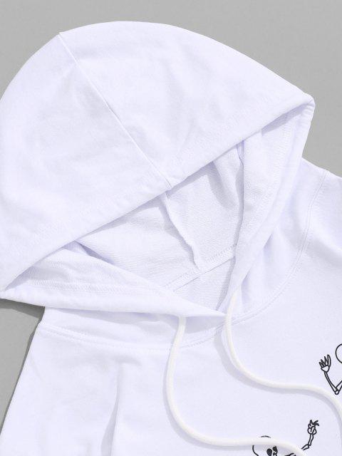 Skeleton Skaterdruck Känguru Taschen Hoodie - Weiß XL Mobile
