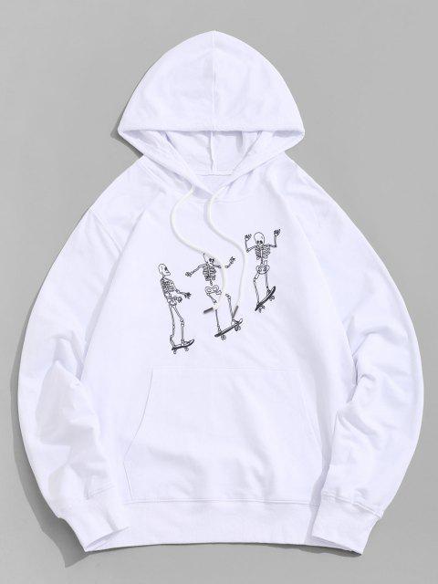 Moletom com Capuz com Bolso Canguru de Esqueleto - Branco XL Mobile
