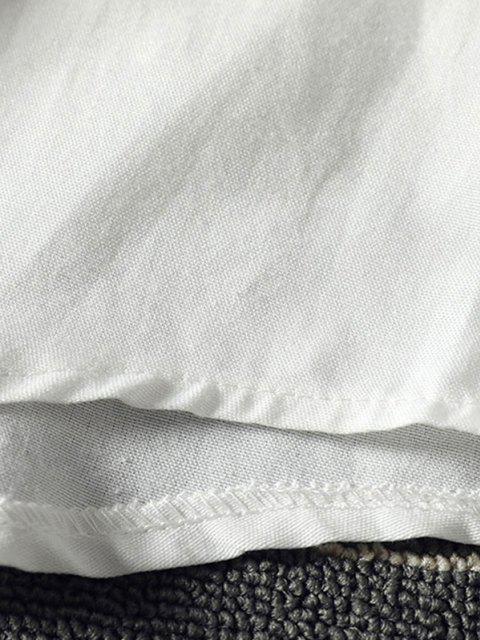 ladies Funny Playing Cartoon Cat Print Pocket Shirt - WHITE XS Mobile