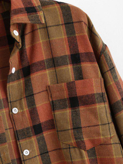 shop Plaid Front Pocket Flannel Shirt - COFFEE XS Mobile