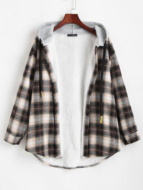 shops Plaid Buttoned Curved Hem Hooded Coat - BLACK L Mobile