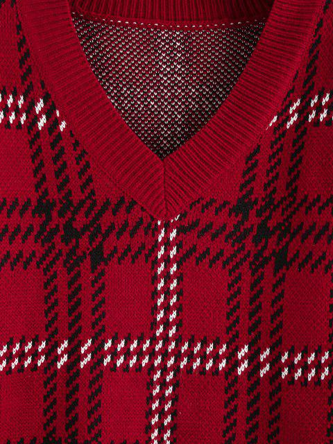new ZAFUL V Neck Drop Shoulder Plaid Sweater - RED L Mobile