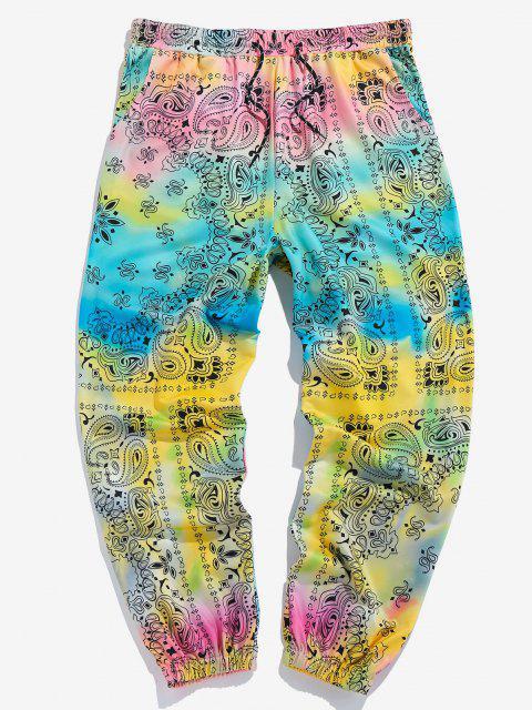 outfit ZAFUL Tie Dye Paisley Print Sports Pants - MULTI S Mobile