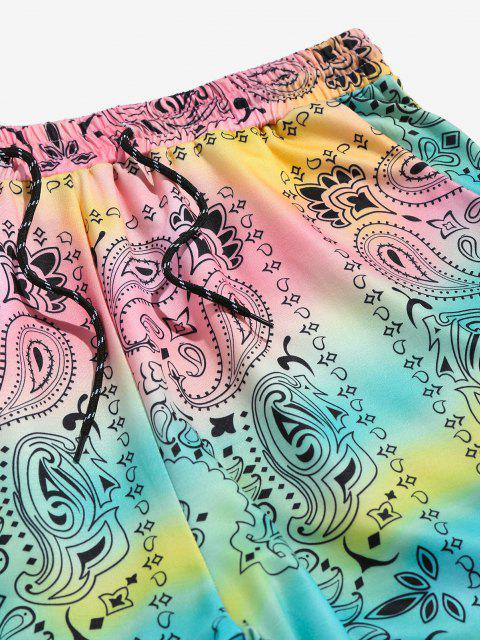 outfits ZAFUL Tie Dye Paisley Print Sports Pants - MULTI M Mobile