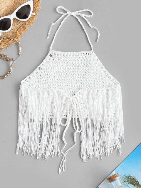 Bikini Top con Flecos con Cuello Alto - Blanco Talla única Mobile