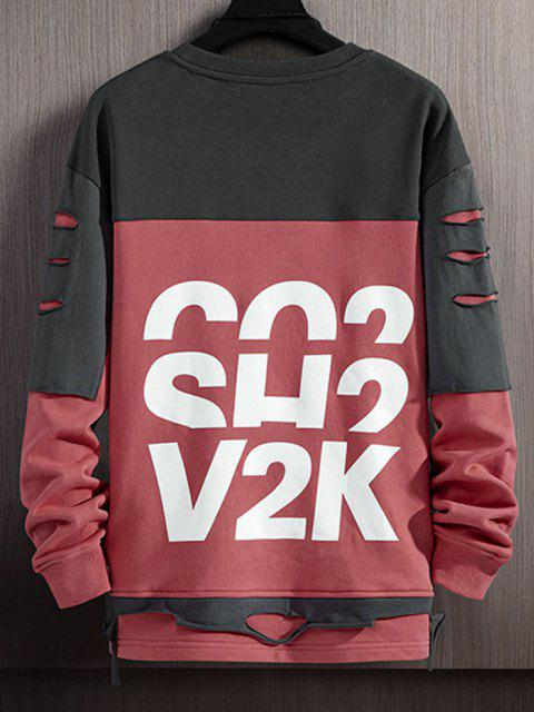 new Letter Print Colorblock Patchwork Ripped Sweatshirt - CHERRY RED XS Mobile