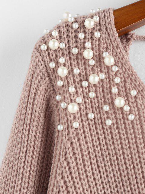 ZAFUL Camisola Superdimensionada de Escada com Decote em V - Luz rosa S Mobile
