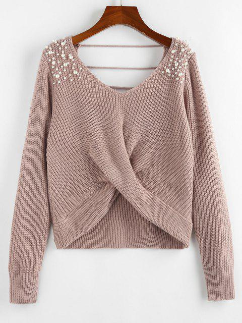 affordable ZAFUL Beading Ladder Cut Twisted V Neck Sweater - LIGHT PINK L Mobile