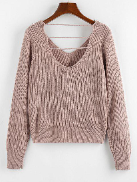 buy ZAFUL Beading Ladder Cut Twisted V Neck Sweater - LIGHT PINK M Mobile