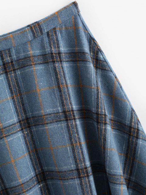 online ZAFUL Plaid Tartan Wool Blend Swing Skirt - DEEP BLUE XL Mobile