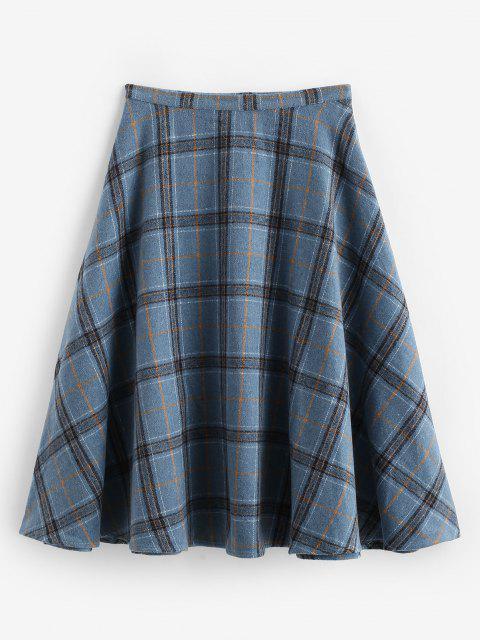 hot ZAFUL Plaid Tartan Wool Blend Swing Skirt - DEEP BLUE S Mobile