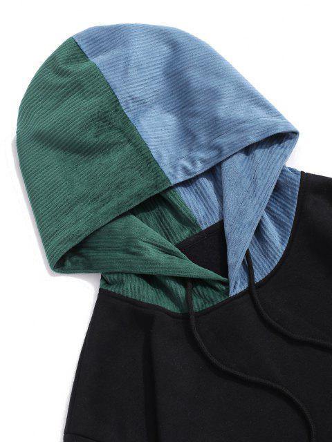 Moletom com Capuz de Forro de Lã com Costura de Cores - Preto M Mobile