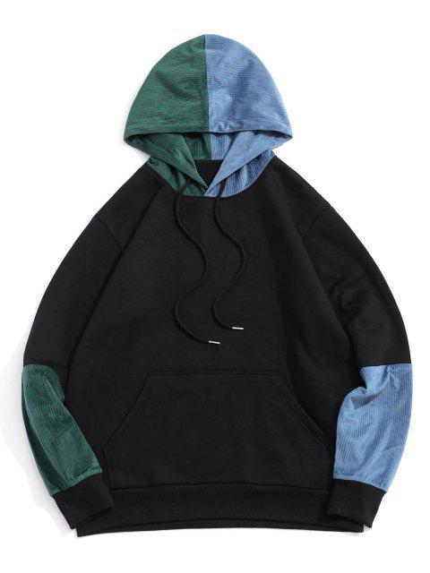 sale Colorblock Panel Fleece Lined Hoodie - BLACK M Mobile