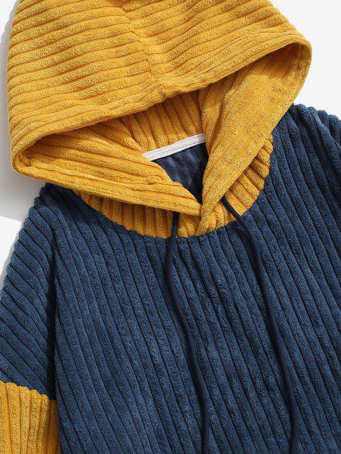 Sweat à Capuche Bicolore avec Poche en Avant en Velours Côtelé - Bleu L Mobile