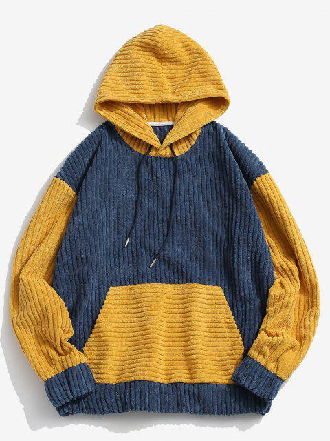 trendy Two Tone Front Pocket Corduroy Hoodie - BLUE S Mobile