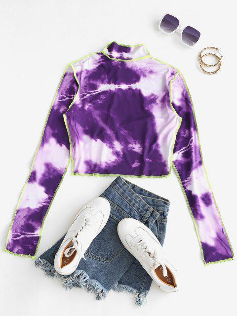 sale Tie Dye Neon Topstitch Trim Baby Tee - PURPLE S Mobile