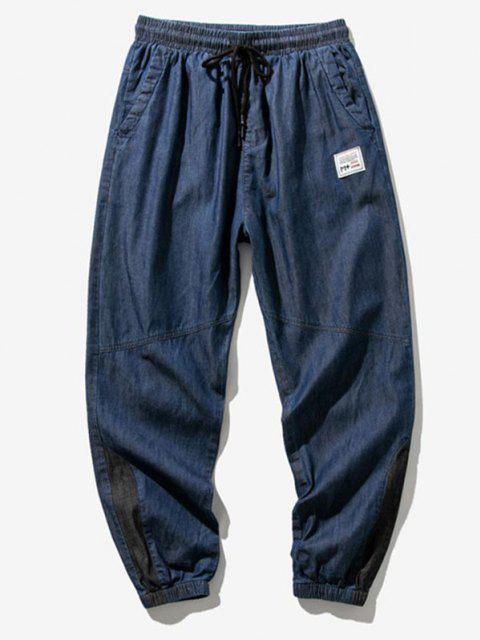 Pantalones Vaqueros Bloqueo de Color con Panel de Letras - Azul Profundo XL Mobile