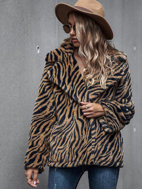 ladies Zebra Fluffy Faux Fur Open Front Coat - COFFEE M Mobile