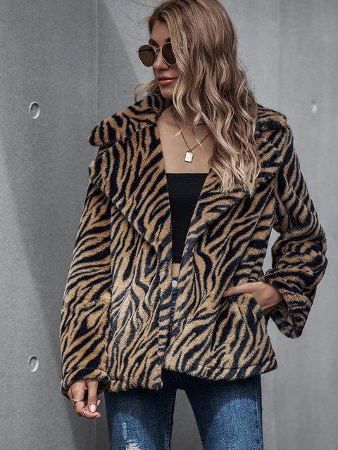Zebra Fluffy Faux Fur Open Front Coat - قهوة M Mobile