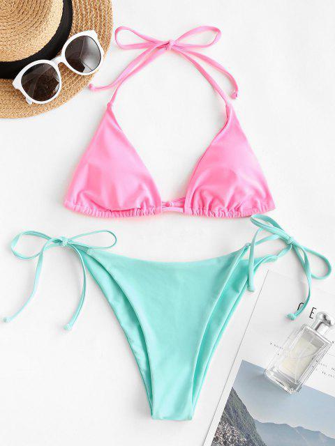 ZAFUL Maillot de Bain Bikini Bicolore Noué à Côté à Col Halter - Rose clair L Mobile