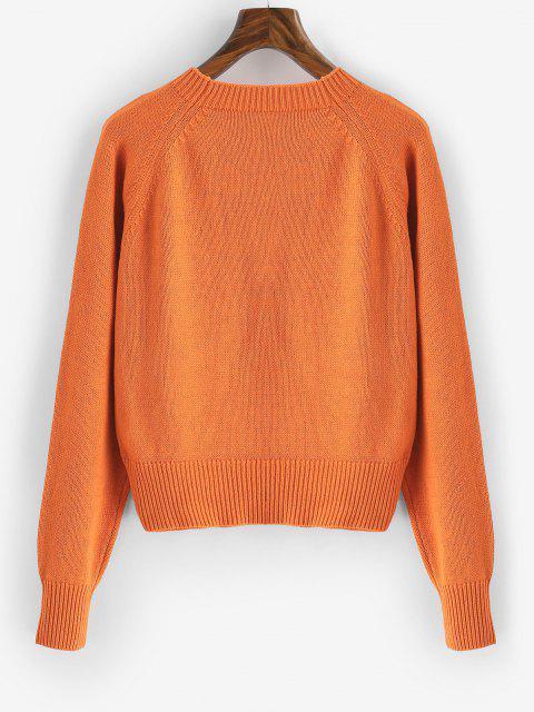 Grafik Raglan Ärmel Pullover - Dunkles Orange M Mobile