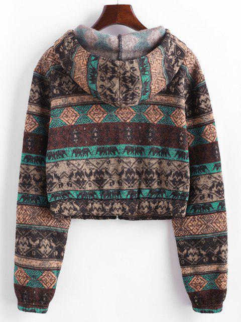 hot ZAFUL Ethnic Knit Fleece Lined Zip Hoodie - MULTI-A M Mobile