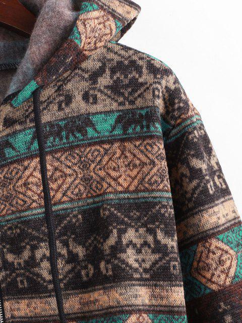 latest ZAFUL Ethnic Knit Fleece Lined Zip Hoodie - MULTI-A L Mobile
