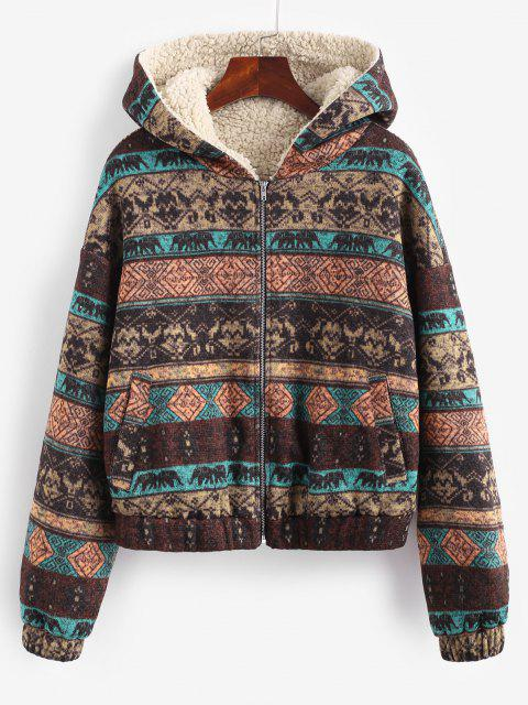 womens ZAFUL Hooded Ethnic Knit Pocket Teddy Lined Jacket - MULTI-A M Mobile