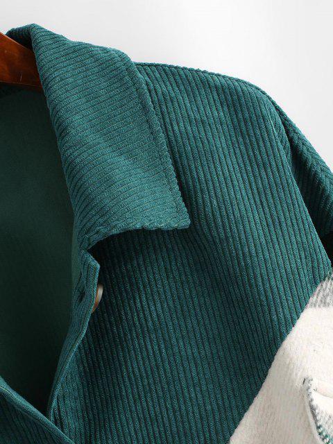 ZAFUL Chaqueta de Pana Panel a Cuadros - Verde Oscuro S Mobile