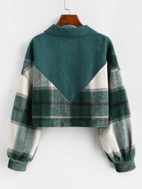ZAFUL Plaid Corduroy Panel Wool Blend Jacket - ديب غرين XL Mobile