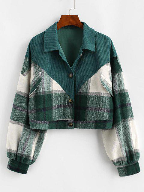 unique ZAFUL Plaid Corduroy Panel Wool Blend Jacket - DEEP GREEN L Mobile