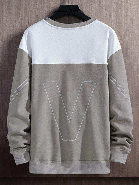 fancy Colorblock Moment Stitching Crew Neck Sweatshirt - GRAY S Mobile