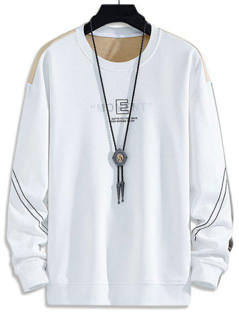 sale Colorblock Moment Stitching Crew Neck Sweatshirt - WHITE XS Mobile
