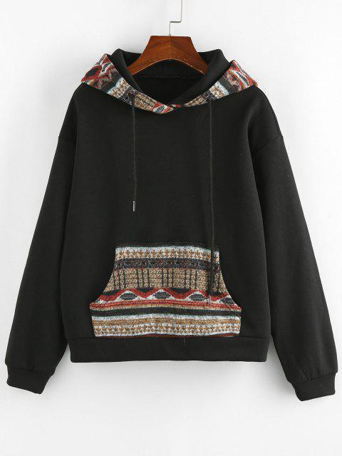 ladies ZAFUL Retro Kangaroo Pocket Tribal Print Hoodie - BLACK M Mobile