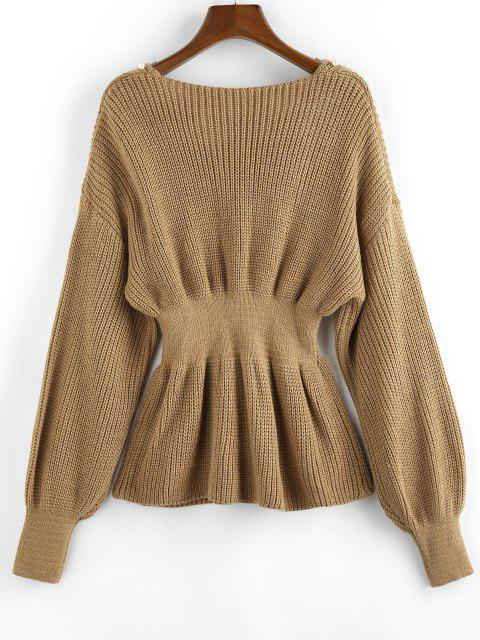 ladies ZAFUL Beading Drop Shoulder Smocked Sweater - LIGHT COFFEE S Mobile
