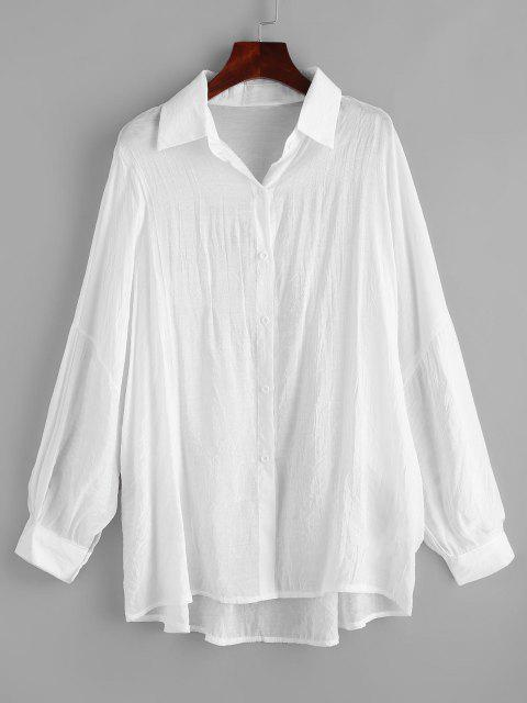 women Drop Shoulder Oversized Beach Shirt Cover Up - WHITE ONE SIZE Mobile