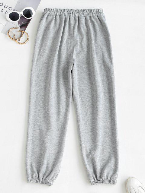 Pantaloni da Jogging Stampati Lettere con Coulisse - Grigio Scuro 2XL Mobile