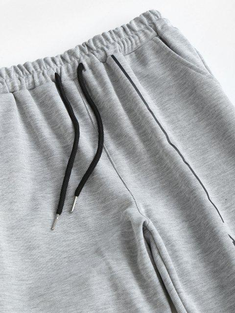 hot Letter Print Drawstring Ninth Jogger Pants - DARK GRAY XL Mobile