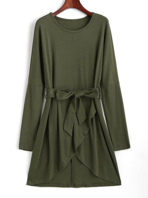 women Drop Shoulder Belted Tulip Dress - LIGHT GREEN M Mobile