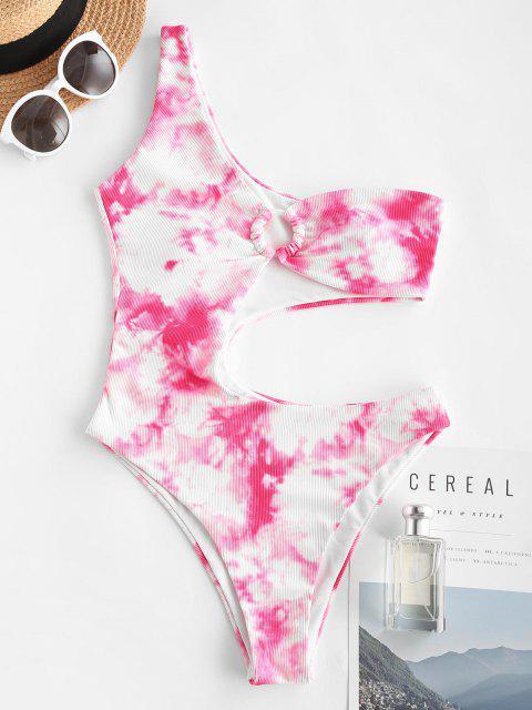 chic ZAFUL One Shoulder Cutout O Ring Tie Dye One-piece Swimwear - LIGHT PINK L Mobile