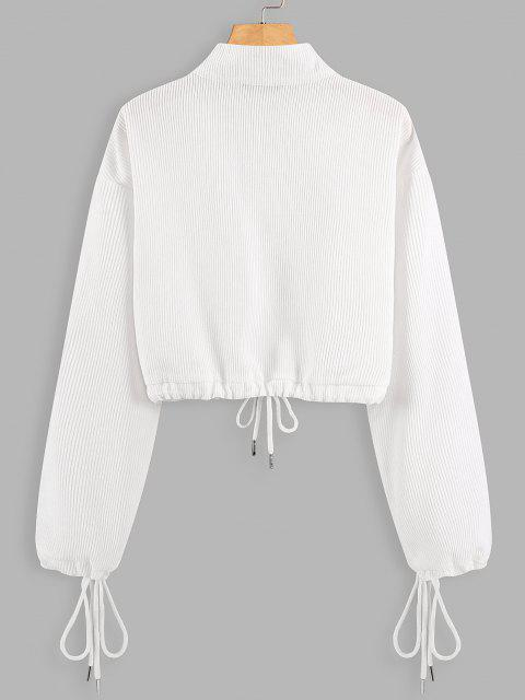 Half Zip Drawstring Cropped Sweatshirt - أبيض L Mobile