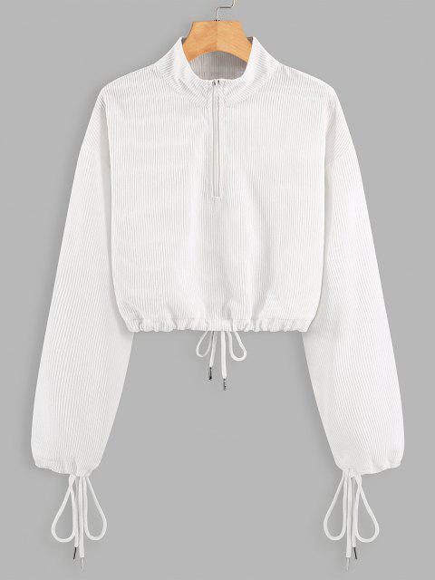 buy Half Zip Drawstring Cropped Sweatshirt - WHITE L Mobile