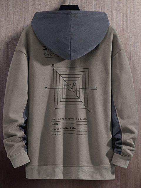 trendy Colorblock Panel Math Graphic Letter Print Hoodie - GRAY XS Mobile