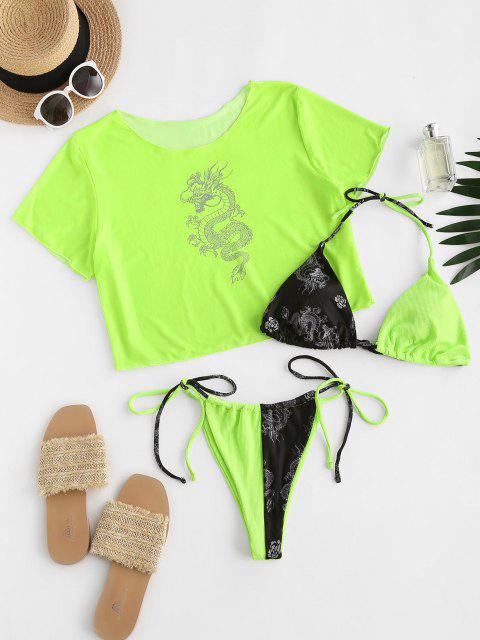 womens ZAFUL Dragon Oriental Ribbed Mesh Three Piece String Bikini Swimwear - GREEN M Mobile