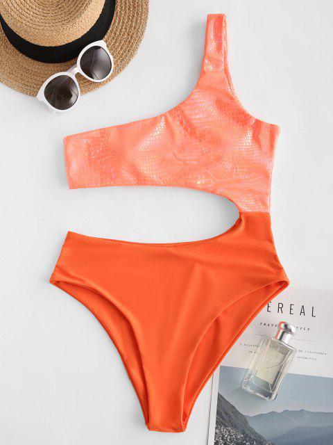women's ZAFUL Neon Cutout One Shoulder Disco Swimsuit - ORANGE S Mobile