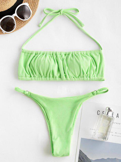 Costume da Bagno Bikini a Costine con Halter di ZAFUL - Verde S Mobile