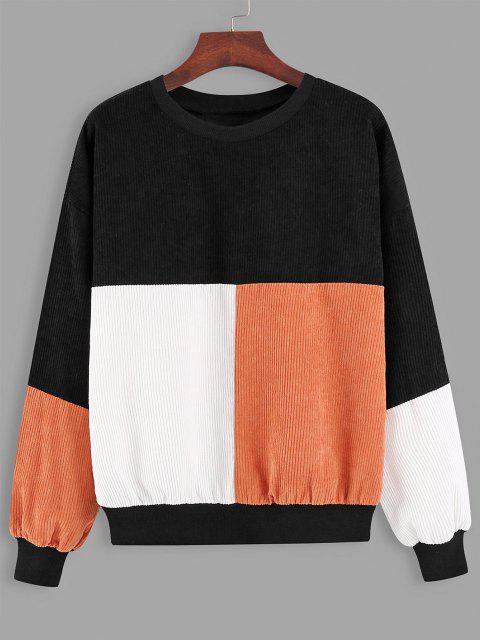 Loose Colorblock Corduroy Sweatshirt - أسود L Mobile