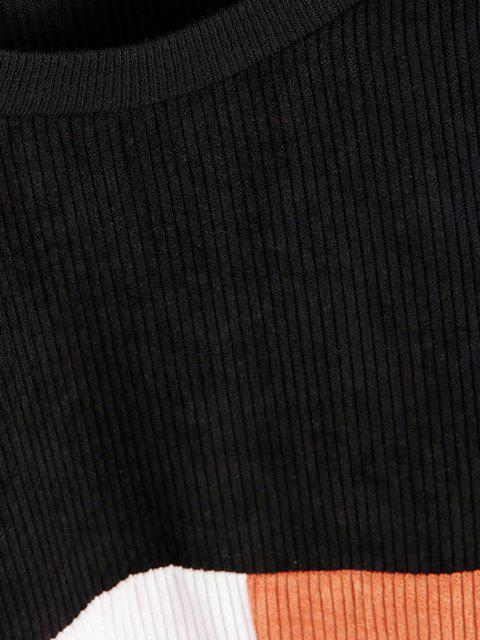 trendy Loose Colorblock Corduroy Sweatshirt - BLACK S Mobile